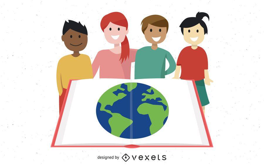 Grupo estudando crianças com globo no livro aberto