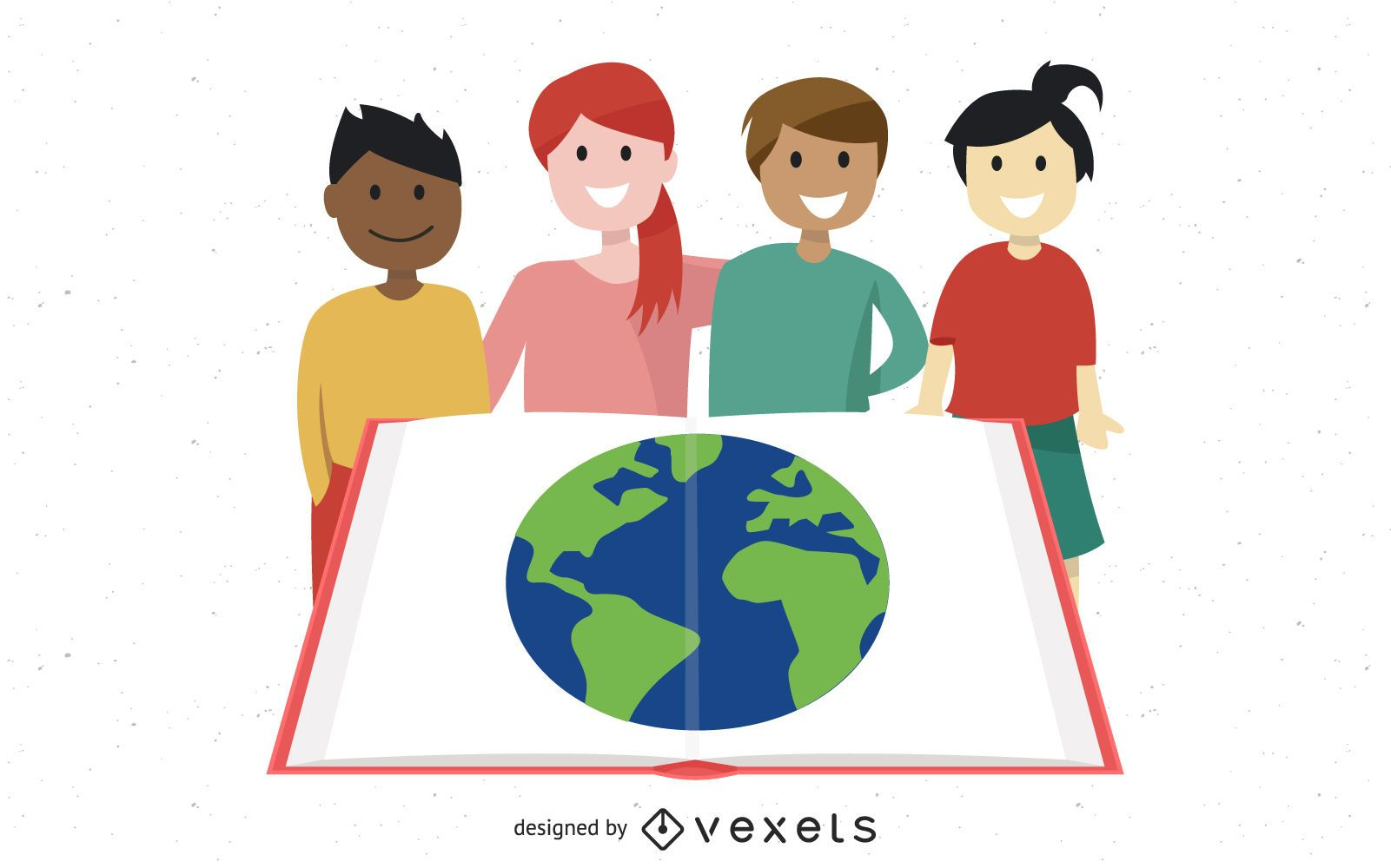 Grupo estudando crianças com globo em livro aberto