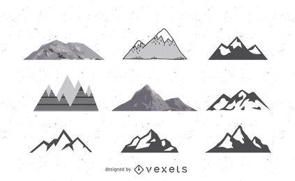 Pacote de montanhas abstratas em preto e branco