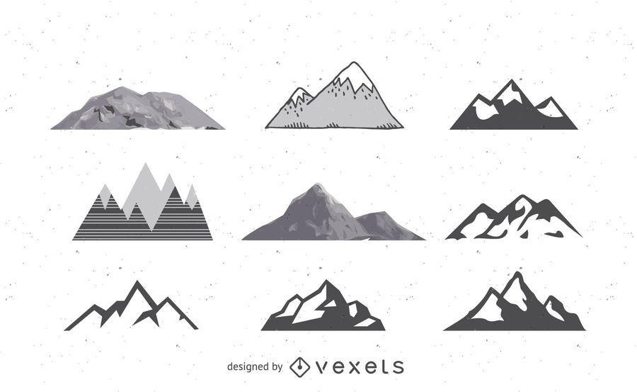 Conjunto de montañas abstractas en blanco y negro