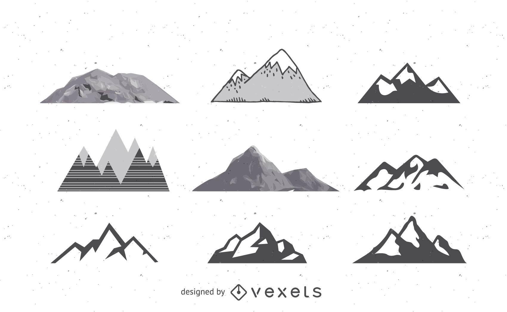 Pacote de montanhas abstrato preto e branco