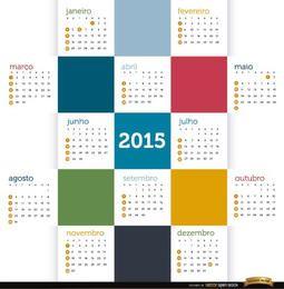 Kalender mit 2015 farbigen Quadraten portugiesisch