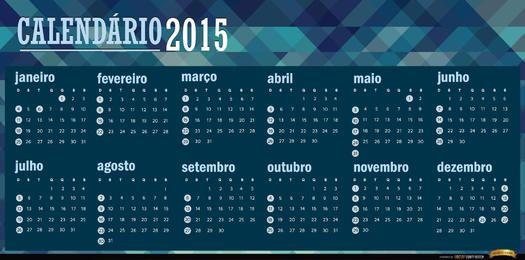 Polygonaler blauer Kalender 2015 Portugiesisch