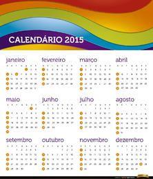 Calendário 2015 do arco-íris Português