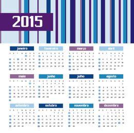 2015 Calendário de barras coloridas Português