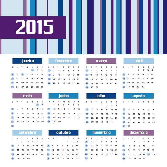 2015 Colored bars calendar Portuguese