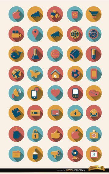 40 ícones redondos com sombra