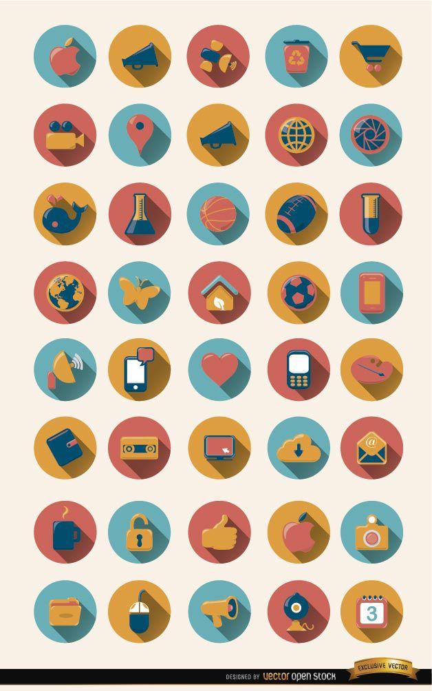 40 runde Symbole mit Schlagschatten