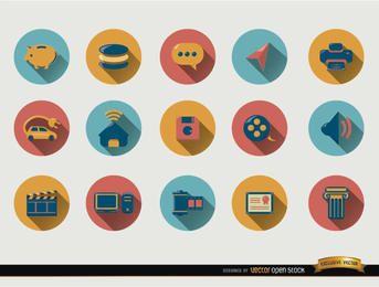 15 ícones redondos com sombra