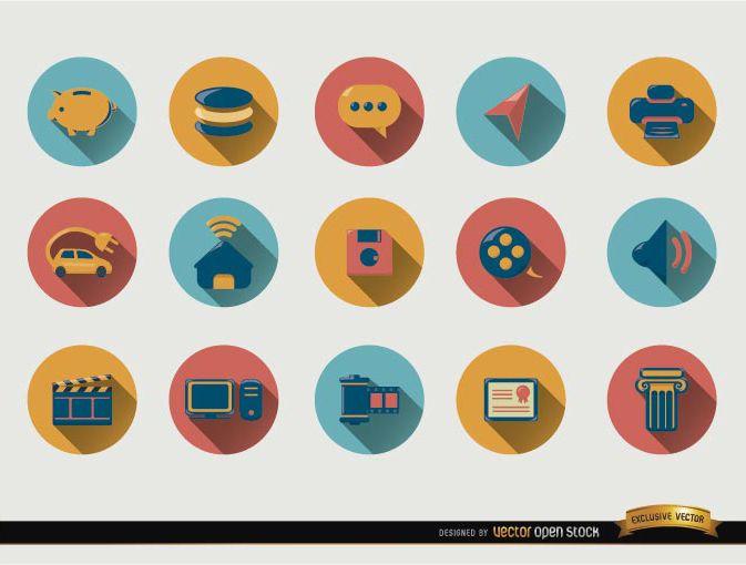 15 Runde Symbole mit Schlagschatten