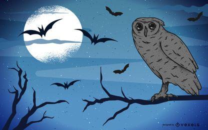 Poster de Halloween com a coruja sentada em uma árvore