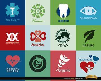 Logos für Gesundheitszentren und Produkte