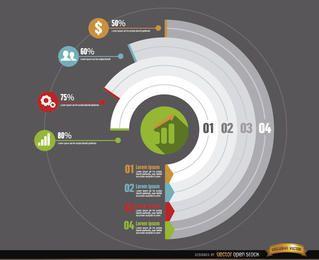Desenvolvimento de negócios de infográficos de círculo