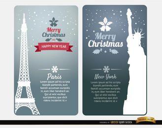 Feliz Natal cartões Paris New York