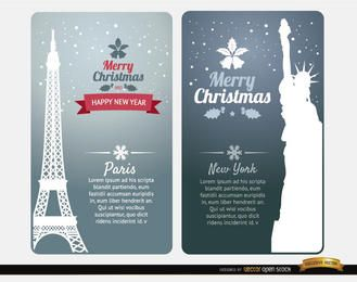 Merry Christmas cards Paris New York