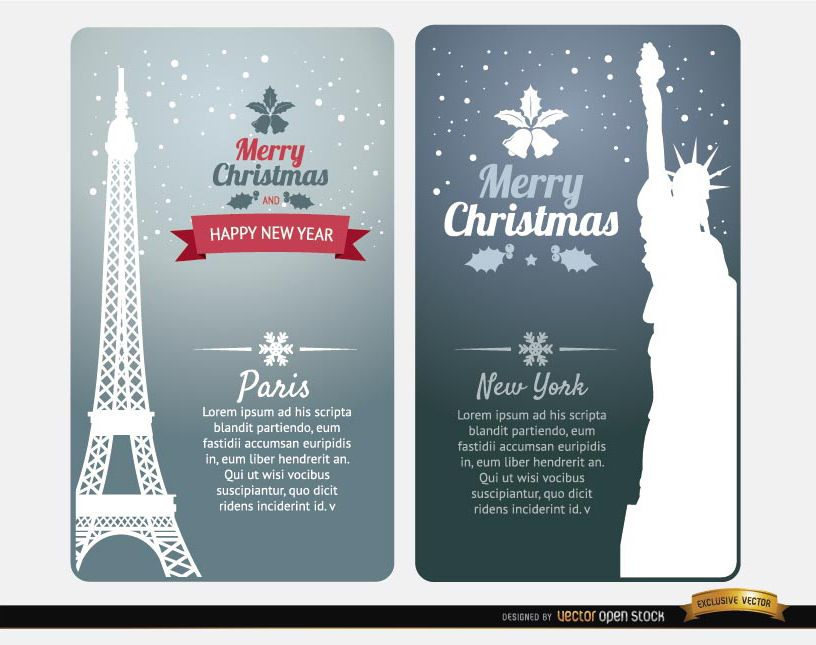 Merry Christmas cards Paris New York - Vector download