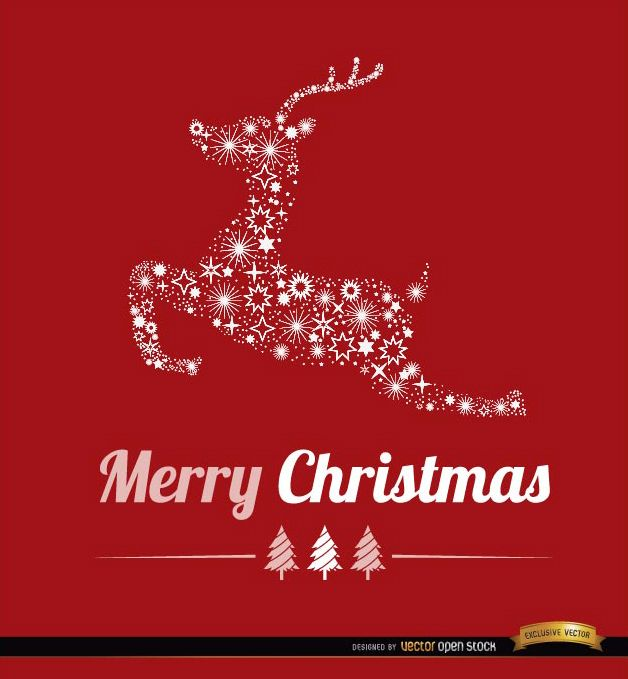 Christmas reindeer stars background