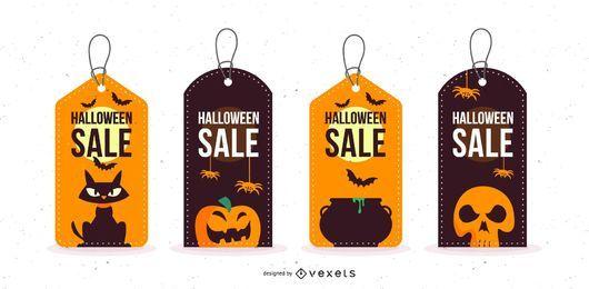Conjunto de tags promocionais de vendas de Halloween