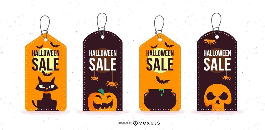 Conjunto de etiquetas promocionales de ventas de Halloween