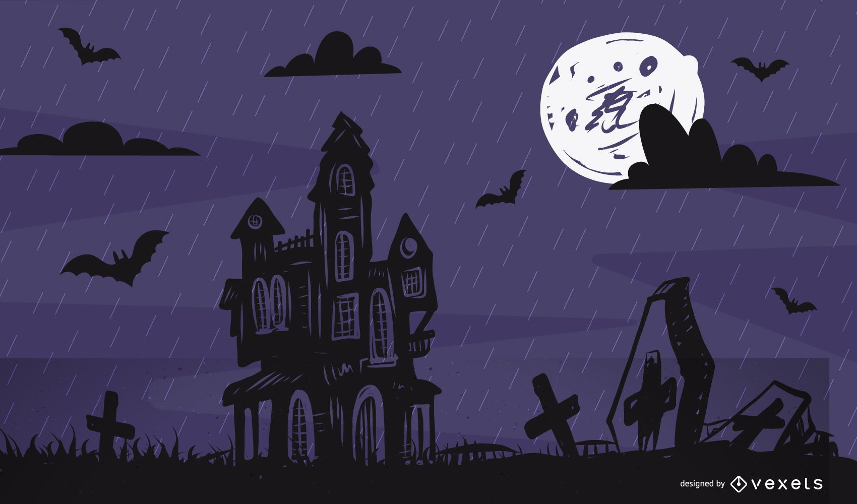 Full Moon Hunted Halloween Poster Template
