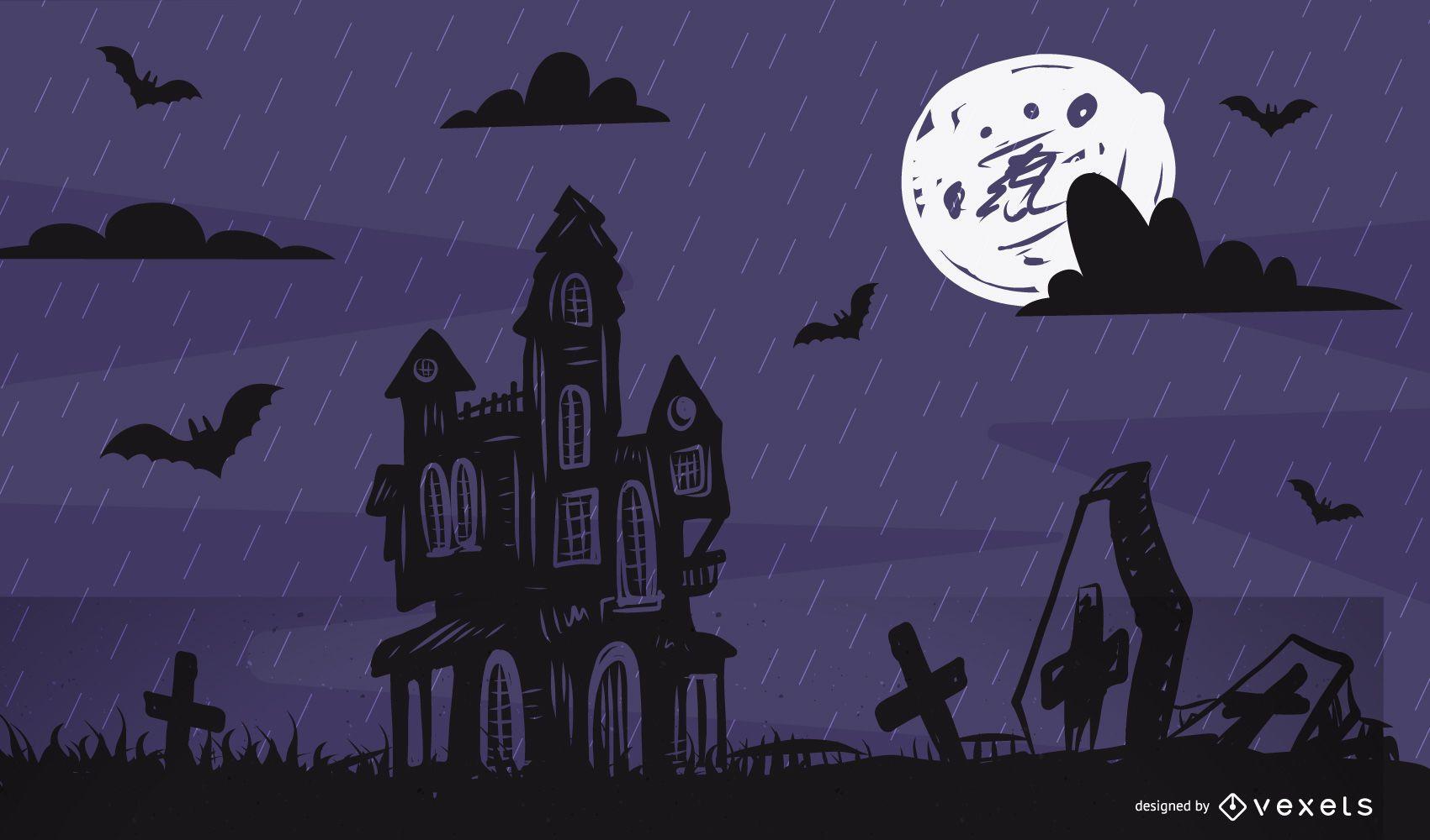 Plantilla de póster de Halloween de caza de luna llena