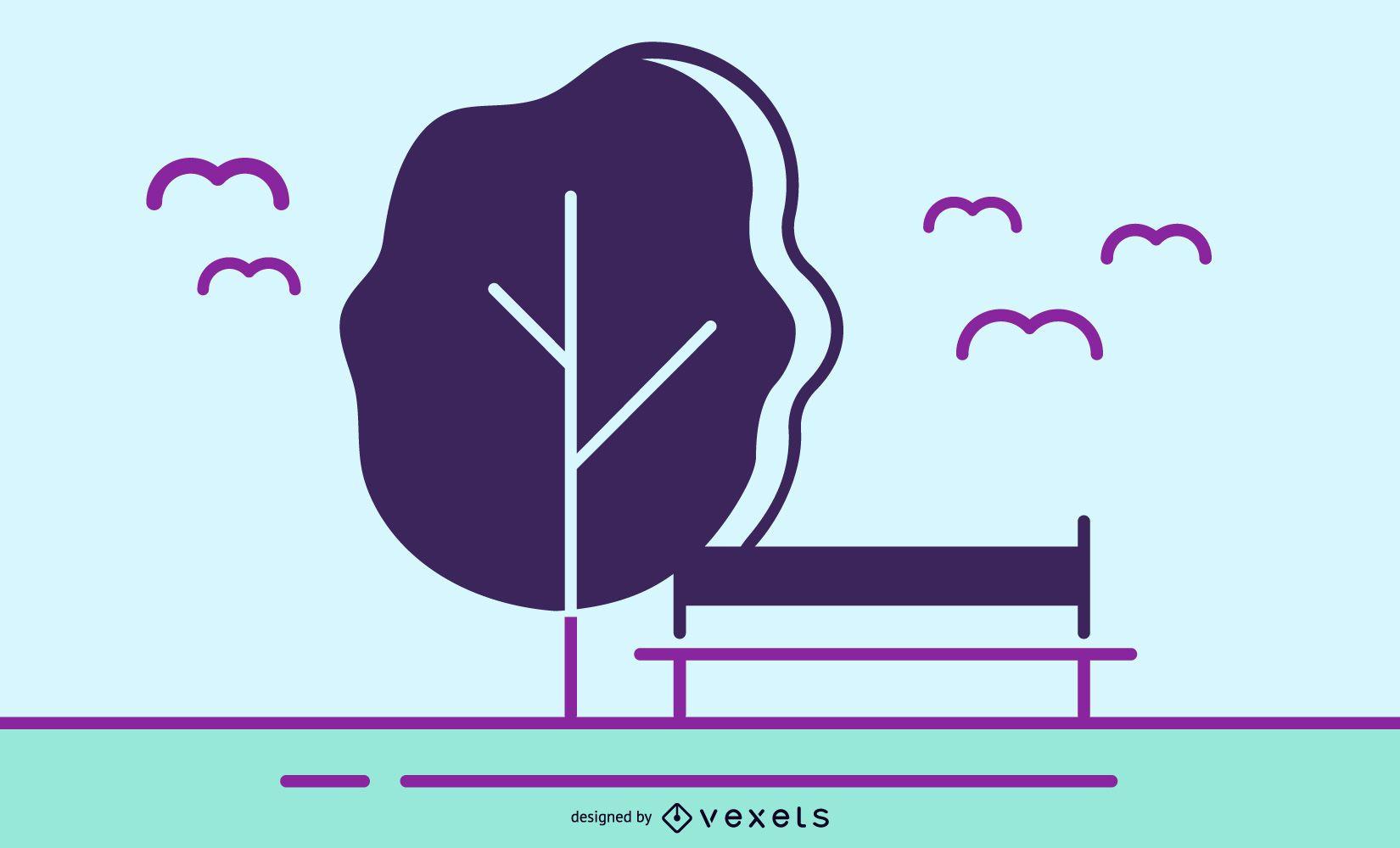 Novo conjunto de vetores grátis: pássaros e árvores