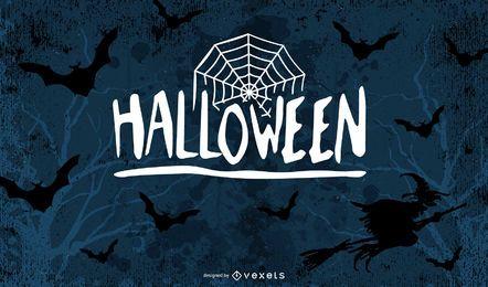 Plantilla retra de la tarjeta del feliz Halloween del Grunge
