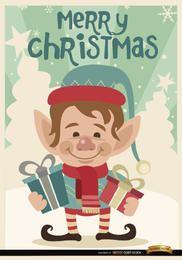 Fondo feliz elfo de Navidad