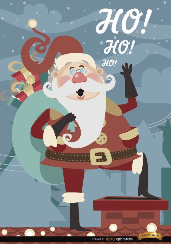 Navidad Santa Claus sobre chimenea