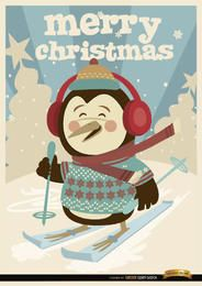 Christmas Penguin winter ski background