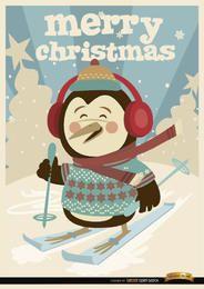 Fondo de esquí de invierno pingüino de Navidad