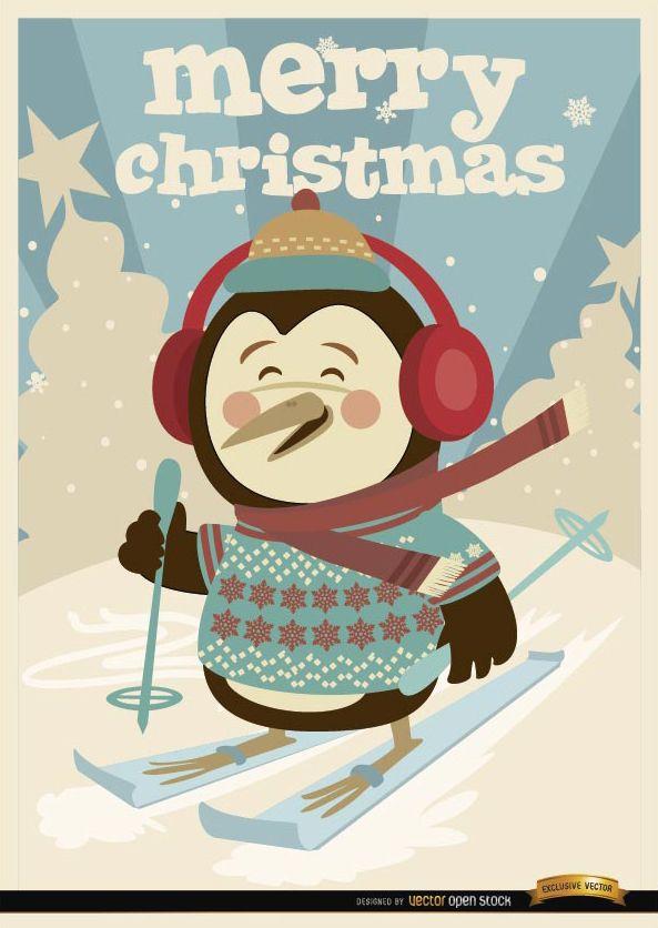 Christmas Penguin winter ski background