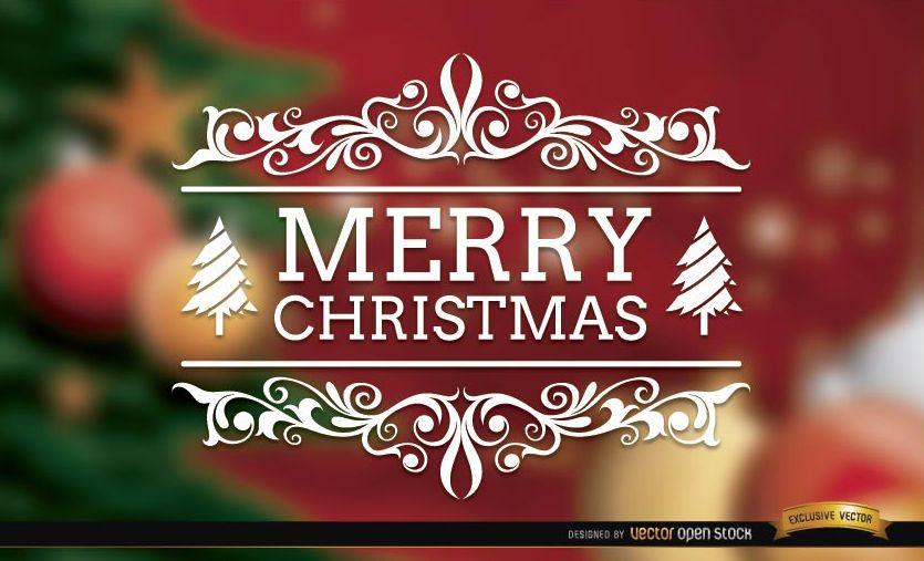 Feliz Navidad remolinos elegante fondo