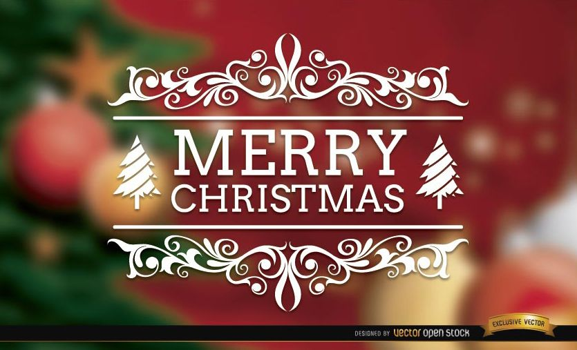 Merry Christmas swirls elegant background