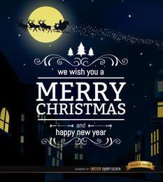 Feliz Natal cidade noite fundo