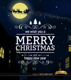 Fondo de noche de la ciudad de feliz Navidad