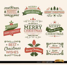 Fitas de Natal feliz e conjunto de rótulos