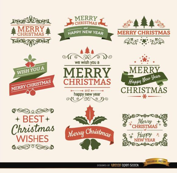 Merry Christmas Labels.Merry Christmas Ribbons And Labels Set Vector Download
