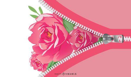 Fundo de zíper de galho de árvore floral verde e rosa