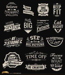 Emblemas vintage motivacionais