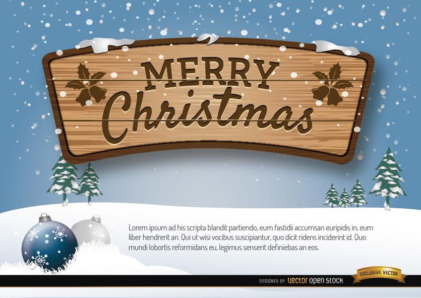 Merry Christmas wooden sign winter background
