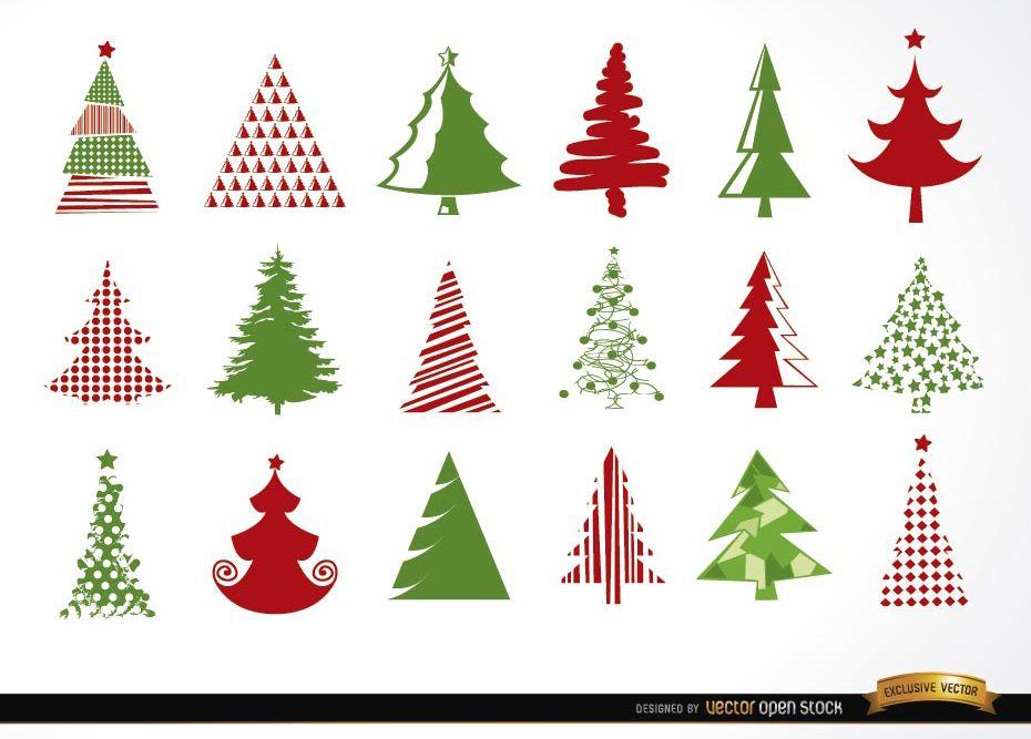 18 iconos de ?rbol de Navidad