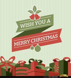 Fondo de cinta y regalos de Navidad