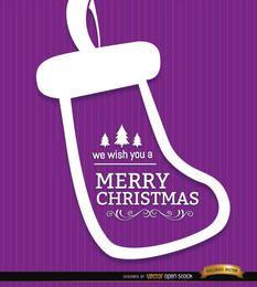Feliz navidad calcetín fondo morado