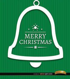 Feliz campana de Navidad fondo verde