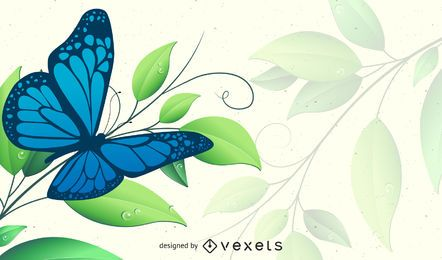 Fondo floral verde primavera con mariposa