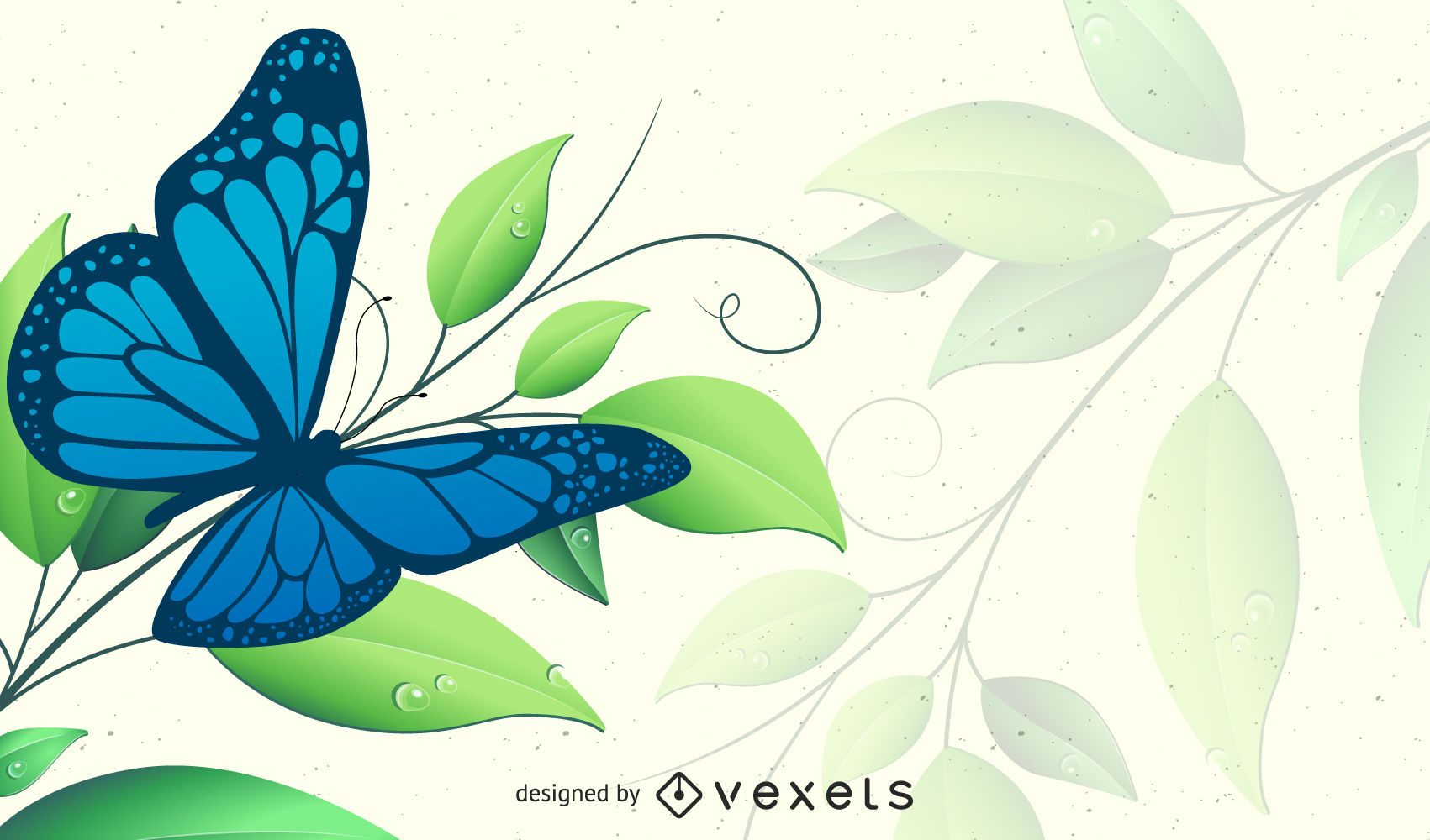 Spring Green Floral Background with Butterfly