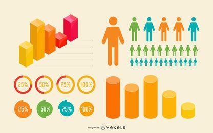 Conjunto de infográfico colorido plano e 3D