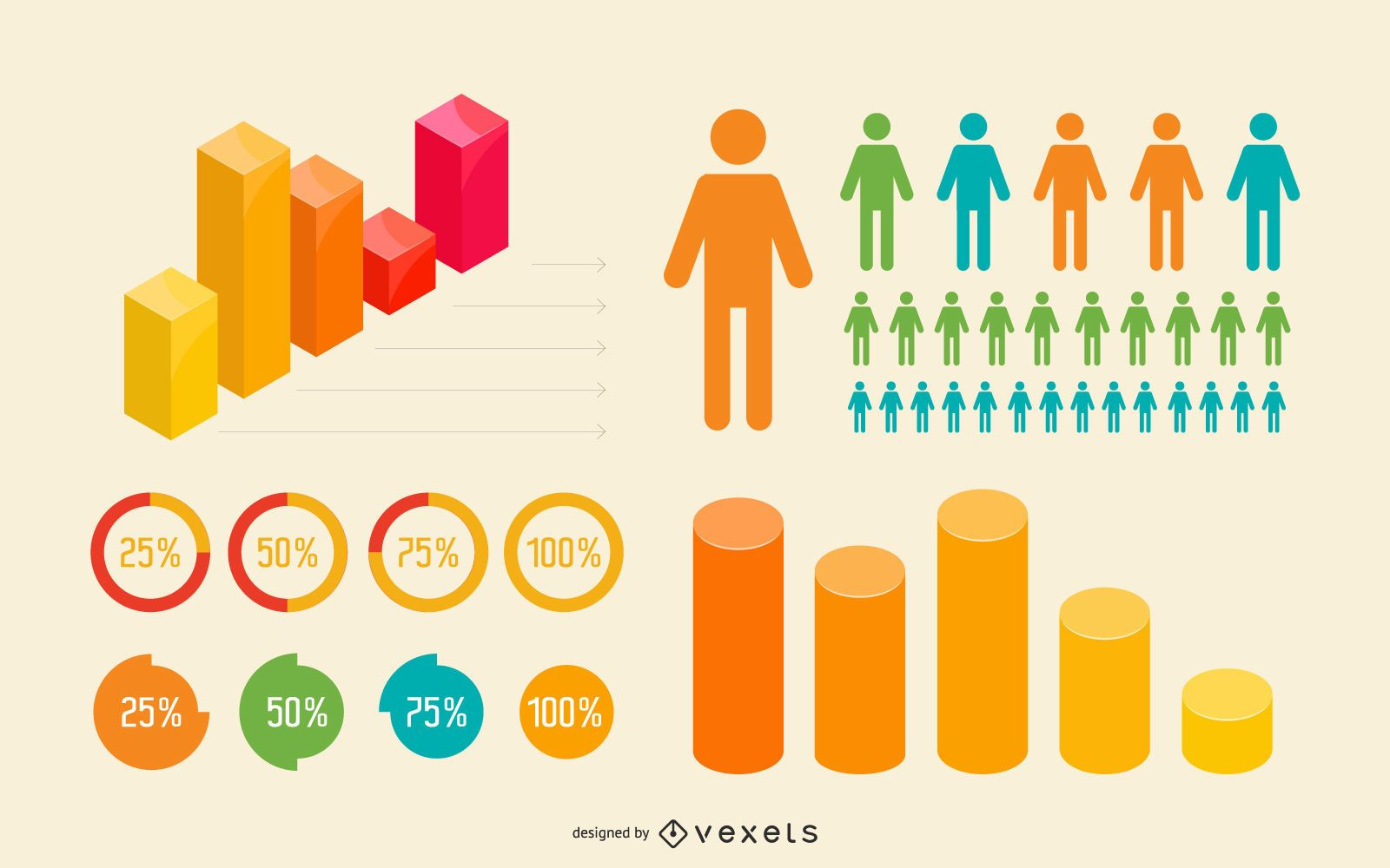 Flat & 3D Colorful Infographic Set
