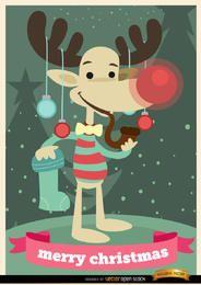 Fondo de Navidad divertida del reno
